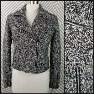 Nine West Boucle Wool Moto Jacket Zip Front Size 8